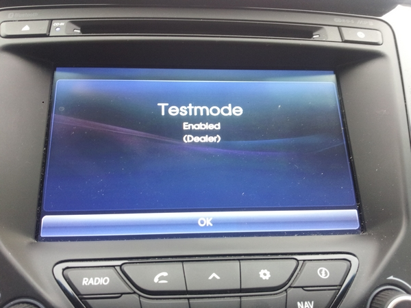 3. Click on OK when Testmode screen appears