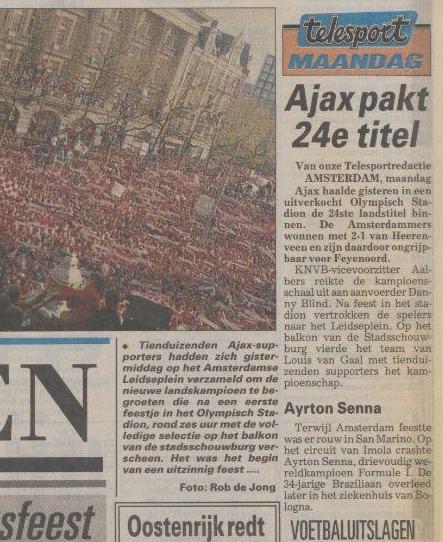 Voorpagina Telegraaf 2 mei 1994