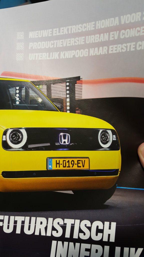 Honda EV kenteken in Autoweek