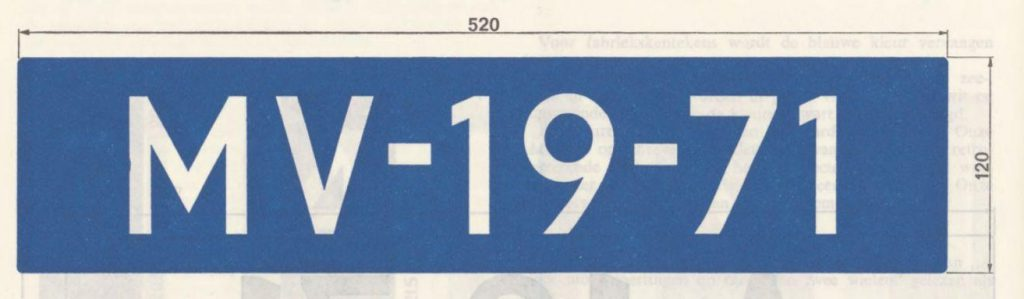 Voorbeeld kenteken 1971