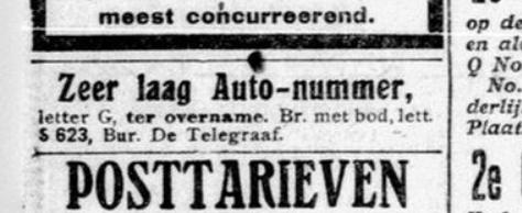 Krantenadvertentie 1916 voor laag auto-nummer